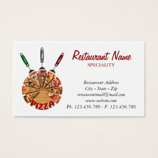 Business Card Pizza on the cutting board