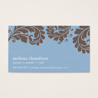 BUSINESS CARD pretty bold flourish blue brown