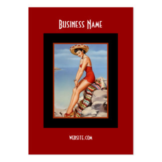 Business Card Red Black Pin up Girl Vintage retro Business Card