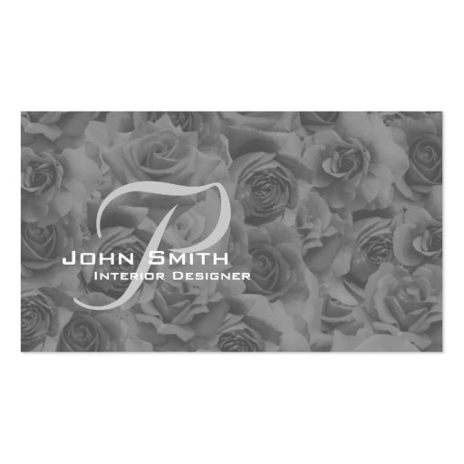Business Card Sepia Beautiful Roses With Monogram