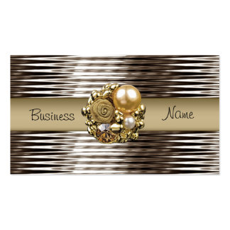 Business Card Sepia Chrome Beige Gold Pearl Jewel