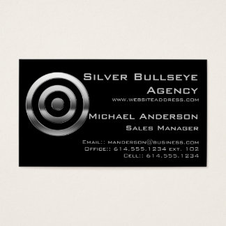 Business Card :: Silver Metal Bullseye Target
