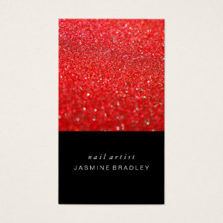 Business Card - Simplistic Glitter Red