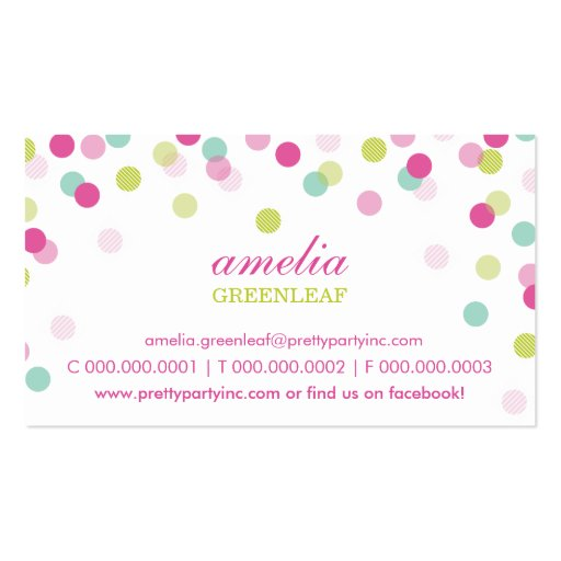 BUSINESS CARD :: stylish confetti pink lime mint
