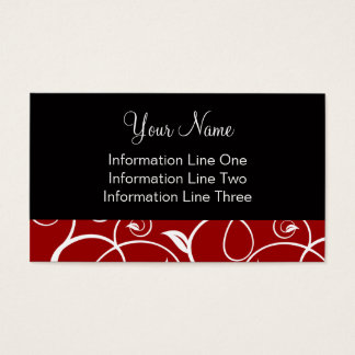 Business Card Template **Curly Vines Crimson Black