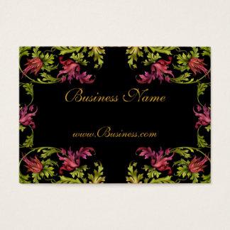 Business Card Vintage Floral Frame Black Gold Pink