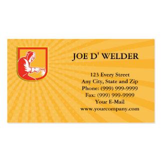 Business card Welder Holding Welding Torch Shield