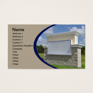 business card with a blank stone sign