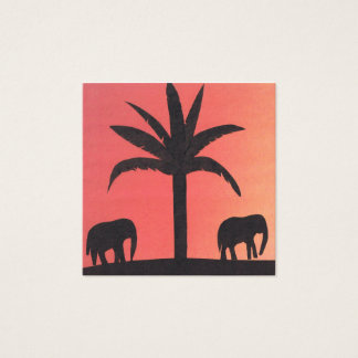Business Card with Elephant Silhouettes