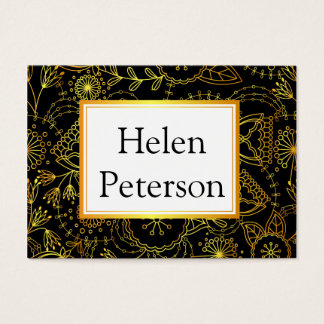 Business card with golden flowers on black