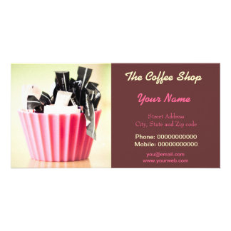 Business Card With Modern Art For Coffee Shop etc Personalized Photo Card
