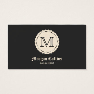 Business card with monogram and seal