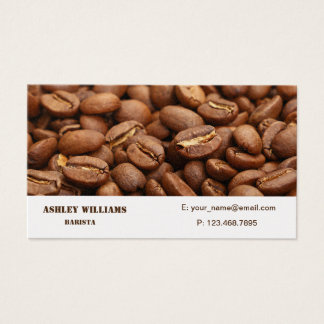 Business Card with roasted  coffee beans