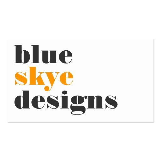 business cards > blue skye  [orange : charcoal]