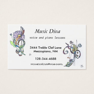 business cards:  music diva business card