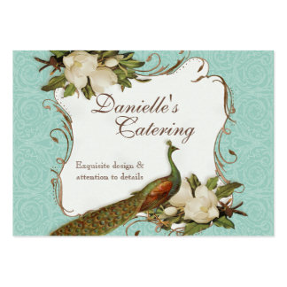 Business Cards - Peacock Magnolia Floral Damask