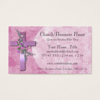 Business Cards: Purple Cross with Pink Flowers Business Card