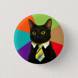 business cat - black cat 1 inch round button
