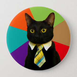 business cat - black cat 4 inch round button