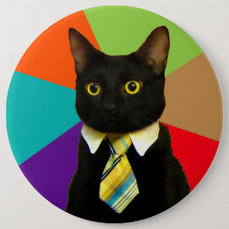 business cat - black cat 6 inch round button