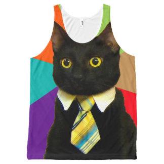 business cat - black cat All-Over-Print tank top