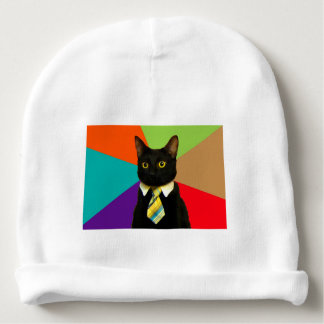 business cat - black cat baby beanie