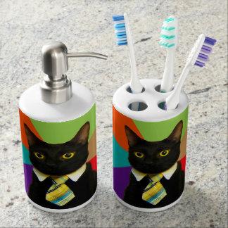 business cat - black cat bathroom set