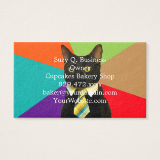 business cat - black cat business card