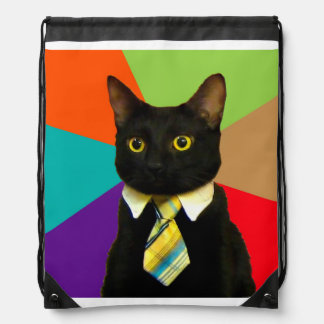 business cat - black cat drawstring bag