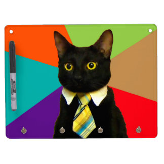 business cat - black cat dry erase board with keychain holder