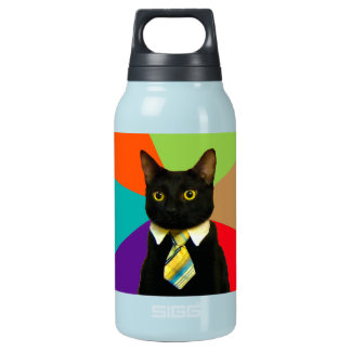 business cat - black cat insulated water bottle