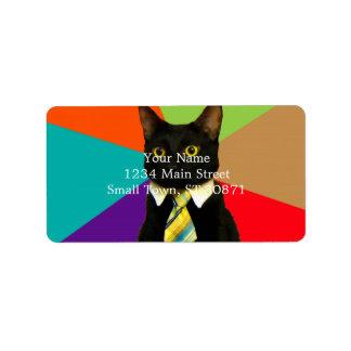 business cat - black cat label