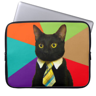 business cat - black cat laptop sleeve