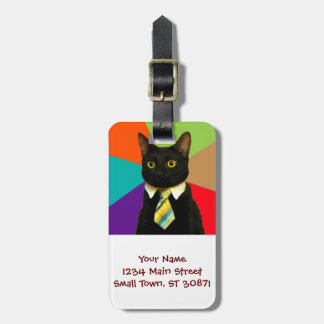 business cat - black cat luggage tag