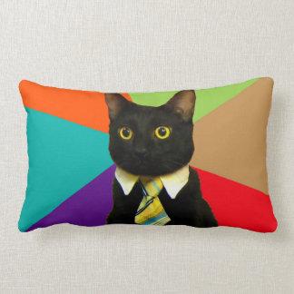 business cat - black cat lumbar pillow