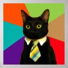 business cat - black cat poster