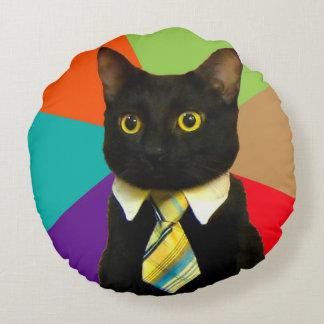 business cat - black cat round pillow