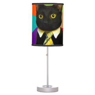 business cat - black cat table lamp