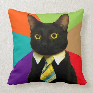 business cat - black cat throw pillow