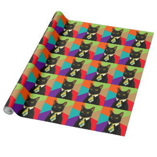 business cat - black cat wrapping paper