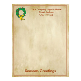 Business Christmas Letter Paper - Wreath Design Customized Letterhead