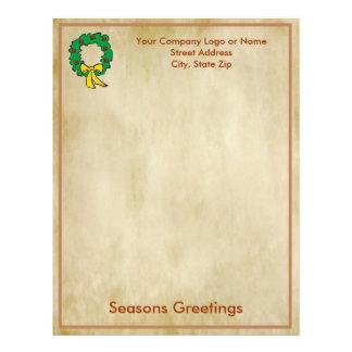 Business Christmas Letter Paper - Wreath Design Personalized Letterhead