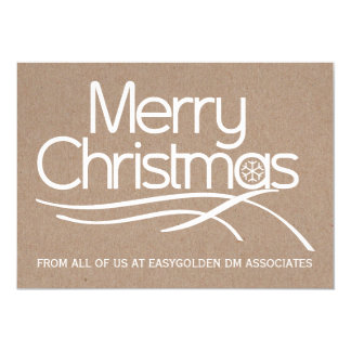 """Business Christmas rustic typography holiday 5"""" X 7"""" Invitation Card"""
