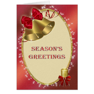 Business Christmas 'Season's Greetings' with bells Greeting Card