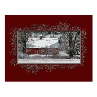 Business Country Barn Christmas Postcard