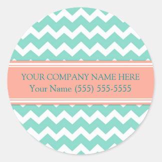 Business Custom Company Name Aqua Coral Chevron Round Sticker