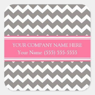 Business Custom Company Name Gray Pink Chevron Square Sticker