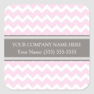 Business Custom Company Name Pink Gray Chevron Square Sticker