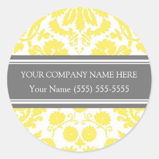 Business Custom Company Name Stickers Yellow Grey