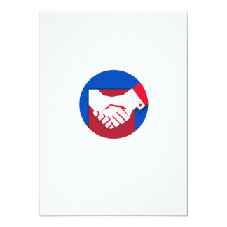 "Business Deal Handshake Circle Retro 4.5"" X 6.25"" Invitation Card"